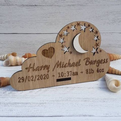 Personalised New Baby Keepsake Cloud with Moon, Stars Gift  Oak Wooden Decor